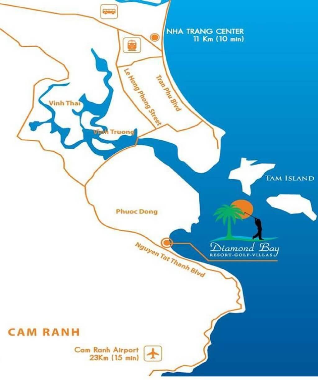 Vị trí Diamond Bay Condotel Resort Nha Trang