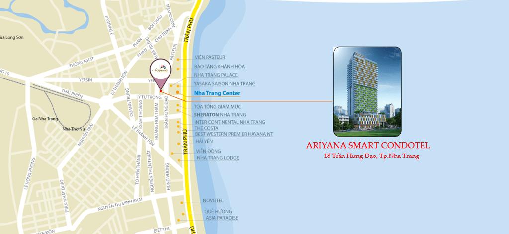 Vị trí dự án Ariyana Smart Condotel Nha Trang