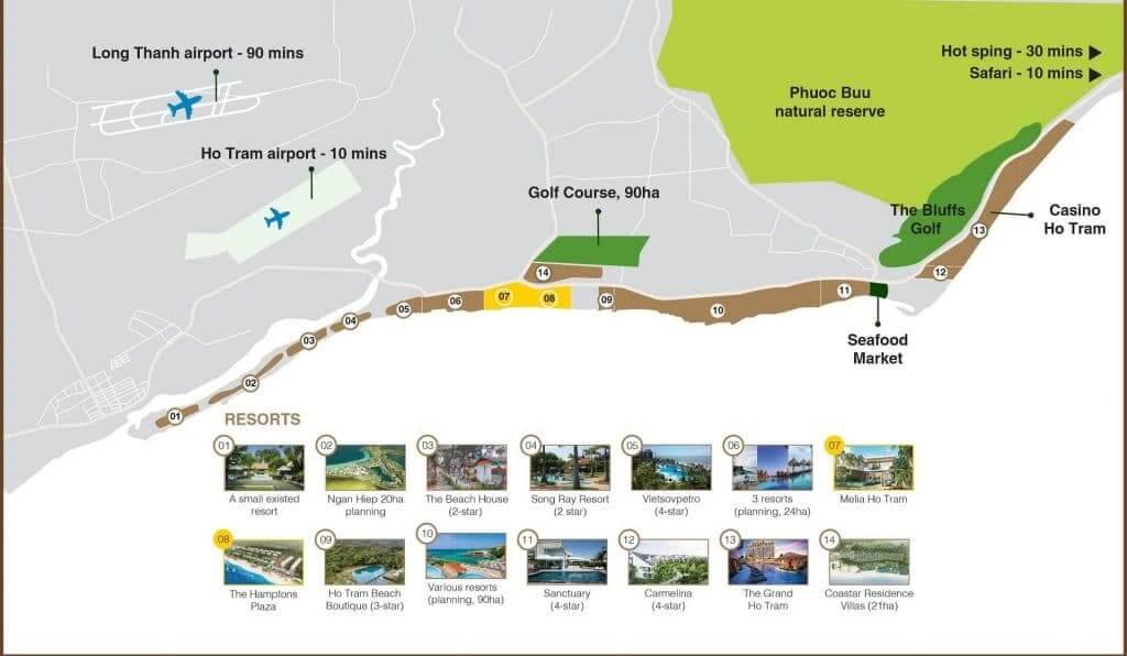 Vị trí dự án Melia Hồ Tràm